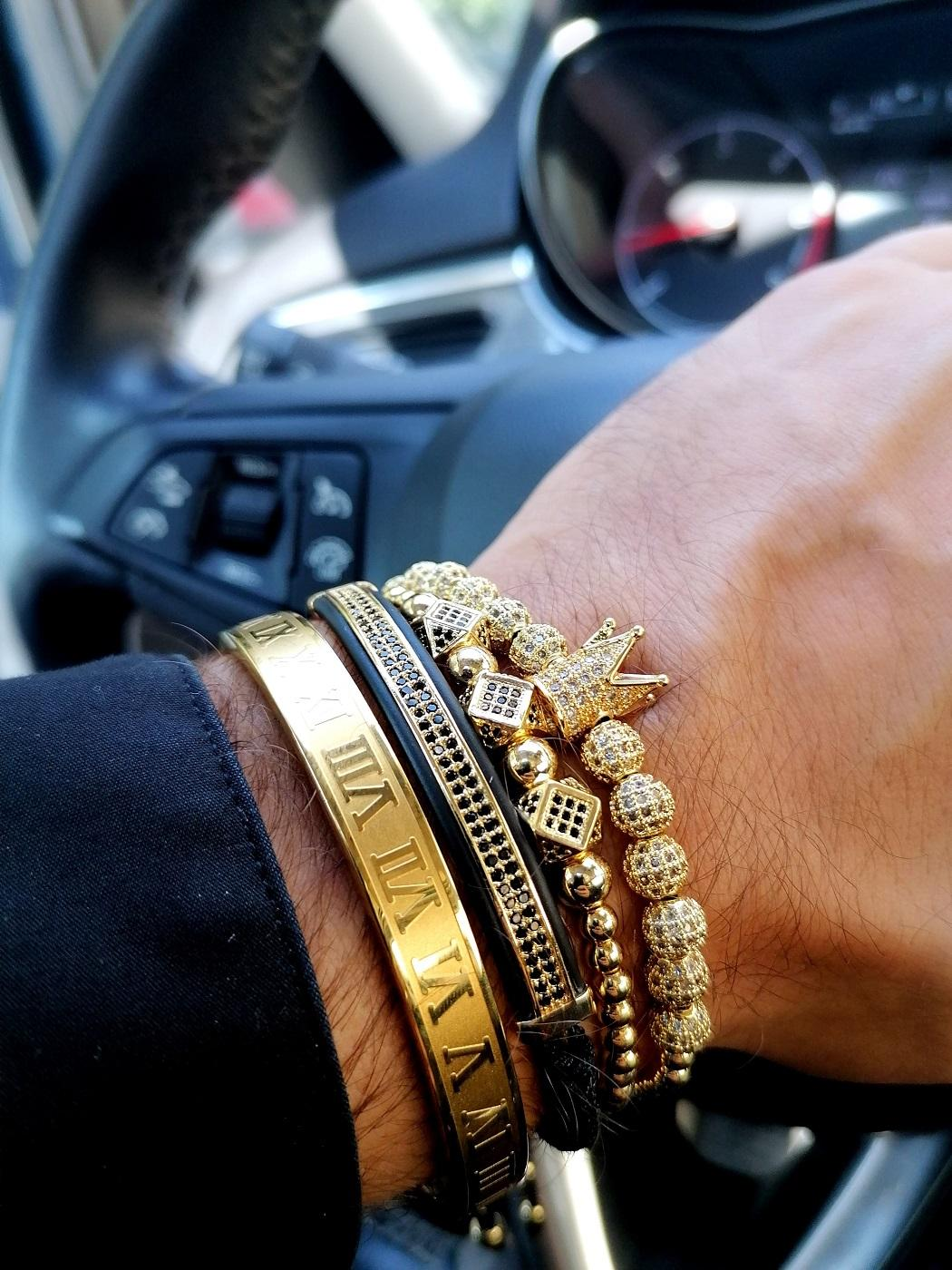 Gold Crown Bracelet Mens Markham