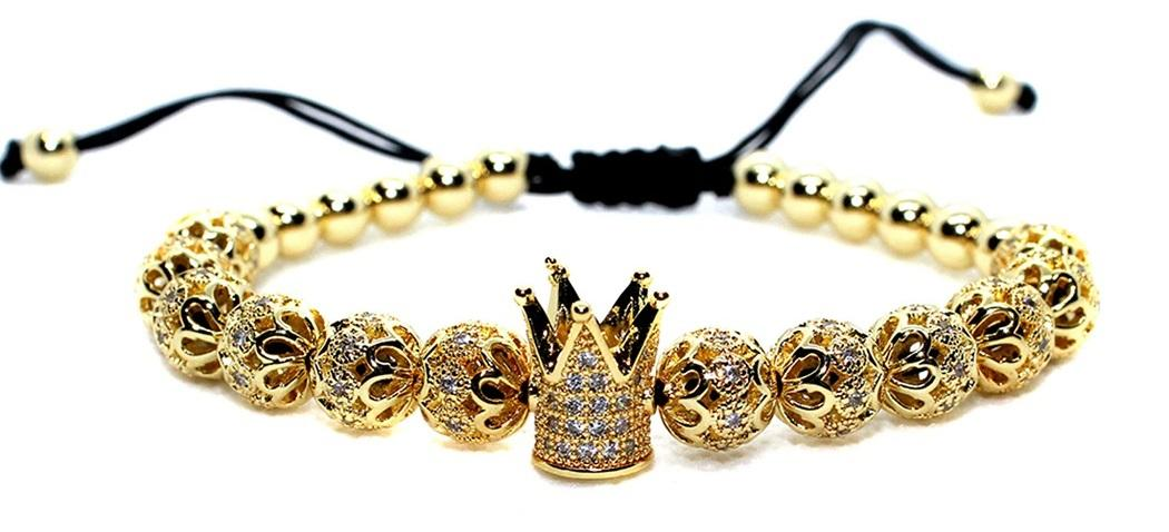 Black Bead Bracelet With Crown Augusta