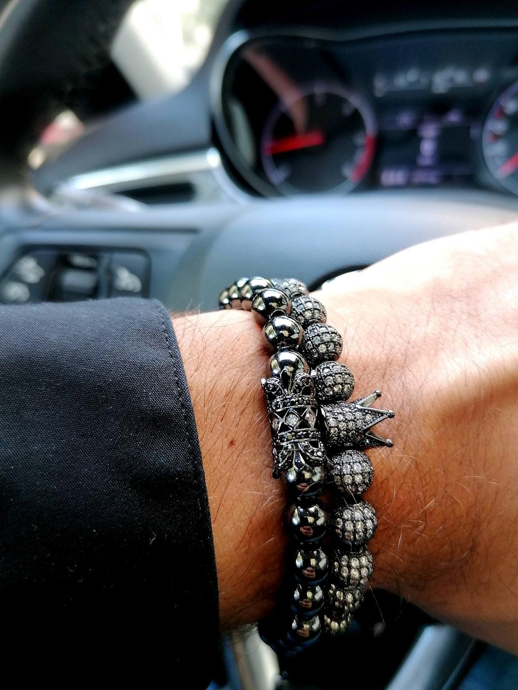 Black Bead Bracelet With Crown Welland