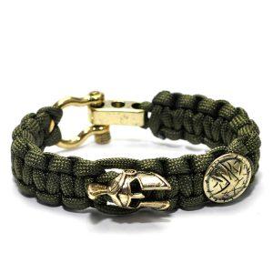 Spartan Bracelet Green, Viking Leather Wristband